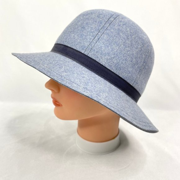 Vintage Adolfo II Blue Wool Cloche/Bucket Hat